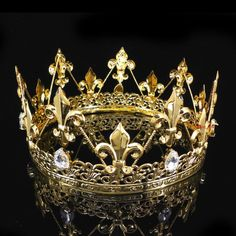 Regal King Crown GOLD W Jewels For Men /& Women By Elope FATHERS DAY