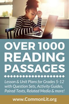 Middle and High school reading passages. Reading Comprehension Activities, Reading Passages, Reading Strategies, Reading Skills, Teaching Reading, Guided Reading, Reading Tutoring, Reading Resources, Teaching Ideas