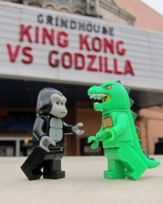 Godzilla and King Kong Lego minifigs?! Do want. And lots of old flat skinny gray 'space' Legos to build cities for them to smash.
