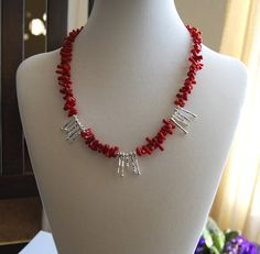 Red Coral and Silver Branch Spike Necklace by SolEMarDesigns