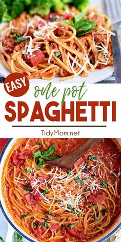 This easy one-pot spaghetti recipe is made with ground Italian sausage for minimal cleanup! Every bite is packed with flavor that will have everyone licking their plate clean! Creamy Spaghetti, One Pot Spaghetti, One Pot Pasta, Spaghetti Recipes, Pasta Recipes, New Recipes, Dinner Recipes, Cooking Recipes, Skillet Recipes