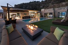 Architecture, Modern Rooftop Deck And Patio Design With Brown Leather L Sofa Gas Fireplace Table Outdoor Dining Room Green Grass Garden And Pool Ideas: Stunning Wallace Ridge by Whipple Russell Architects