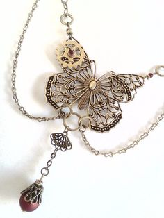 Antique brass steampunk Victorian butterfly by PinkCupcakeJC, $25.00