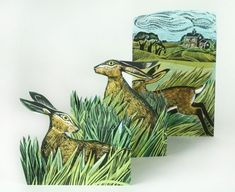 Angela Harding Greetings Card Hares and Open Fields Open Field, Die Cut Cards, Old Stone, Silk Screen Printing, Hare, Printmaking, Buy Art, Fine Art Prints, Illustration Art
