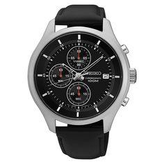Seiko SKS547 Men's Watch Chronograph Black Leather Band Black Dial