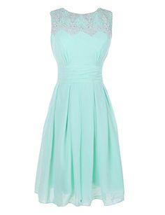 Ouman Short Prom Dress Bridesmaid Gowns with Appliques Neckline Mint X-Large