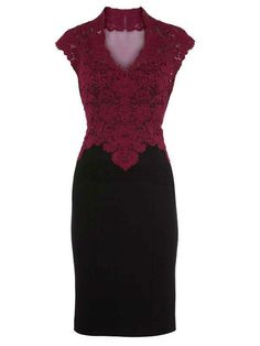 Sexy Burgundy Lace V-neck Womens Party Dress - Womens Dresses - Womens Clothing