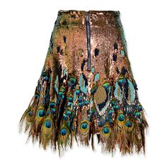 Matthew Williamson Peacock Feather-Trimmed Sequined Skirt-Luxurious!