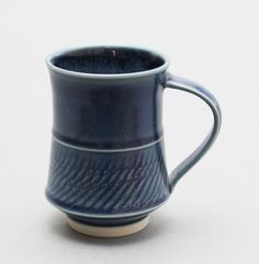 Wheel Thrown Blue Porcelain Mug with Chattering Texture by Hsin-Chuen Lin