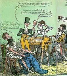 """""""D__n it! I really believe I must take off my cravat or I shall never get my trowsers on""""~G. Cruikshank 1818 (detail)"""