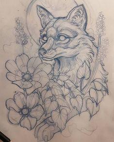 Скетч для тату с лисой, цветами и листьями