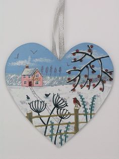 The Way Home - mixed media on a wooden heart (SOLD)