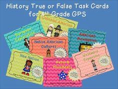 True or False History!  Georgia Standards 4th Grade Social Studies Task Cards