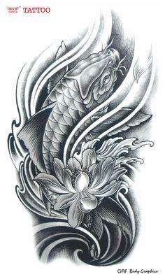 koi fish lotus flower tattoos - Thinking my thigh Carpe Koi Tattoo, Pez Koi Tattoo, Carp Tattoo, Koy Fish Tattoo, Tattoo Ink, Tatto Koi, Ganesha Tattoo, Yakuza Tattoo, Tattoo Outline