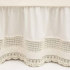 Crochet Edge Ivory Bed Skirt Could also go vintage-y