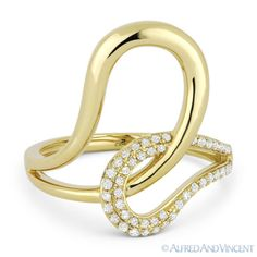The featured ring is cast in 14k yellow gold and showcases a fancy design made up of interlocking loops and pave-set round cut diamonds.