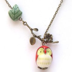 Antiqued Brass Branch  Porcelain Owl Leaf Necklace by gemandmetal, $12.99