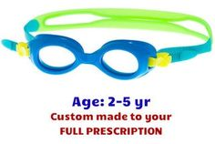 fbafb1dde46 Toddlers Kids Swim Goggles S37 Blue with Prescription Lenses made to your  prescription! 3 colors
