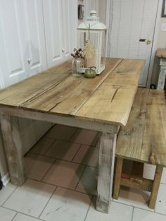 6ft. farmhouse table and bench by whitepinecrafters on Etsy, $825.00
