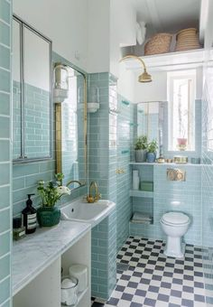 If you have a small bathroom in your home, don't be confuse to change to make it look larger. Not only small bathroom, but also the largest bathrooms have their problems and design flaws. Narrow Bathroom, White Bathroom, Modern Bathroom, Master Bathroom, Duck Egg Blue Bathroom Tiles, Simple Bathroom, Bad Inspiration, Bathroom Inspiration, Bathroom Interior Design