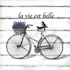 French Vintage Bicycle Large Instant Digital by CreatifBelle Vintage Images, French Vintage, Vintage Art, Vintage Clocks, Vintage Signs, Foto Transfer, Transfer Paper, Iron On Fabric, Decoupage Vintage