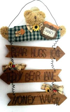 Bear Hugs Wall Hanging Sign Country Primitive Wood Honey Haven Teddy Bear Lane  #Rustic