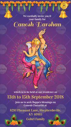 Get your Ganpati Festival Invitation Card in Marathi, Hindi & English. This invitation can be used for maghi ganpati, Vinayak Chaturthi, Ganesh Chaturthi. Ganpati Invitation Card, Farewell Invitation Card, Housewarming Invitation Cards, Handmade Invitation Cards, Royal Invitation, Engagement Invitation Cards, Invitation Card Birthday, Indian Wedding Invitation Cards, Invitation Maker