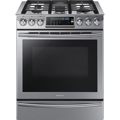 """Samsung - 30"""" Self-Cleaning Slide-In Gas Convection Range - Stainless Steel NX58H9500WS"""