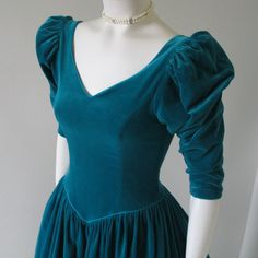Vintage 1980s Teal Velveteen Laura Ashley by KitschNCollectibles, $95.00