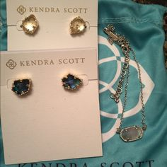 READ Looking to trade these clear Crystal Tessa studs and abalone Tessa studs (brand new never worn) for any silver hardware ALEXANDRAS! And the iridescent slate Elisa in silver willing to trade for a howlite rayne only! ☺️ Kendra Scott Jewelry