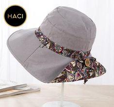 Haci Sun Hat Cotton Wide Brim Folding Travel Hat 10a43cc93c3f