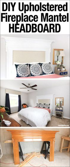 Cool idea!  DIY Upholstered Fireplace Mantel Headboard!