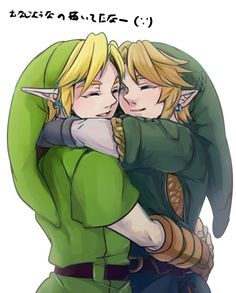 This is adorable and sweet beyond words XD Just too cute to see my two friends huggin like that, makes me tear up :') (I'm gonna say its OoC and SkywardSword)