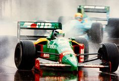 Alessandro Nannini in a Benetton-Ford leading Mauricio Gugelmin in a March-Judd in the 1989 Australian Grand Prix. Benetton, F1 Motor, Motor Sport, Australian Grand Prix, Formula 1 Car, Classic Motors, F1 Racing, Ford, Car And Driver
