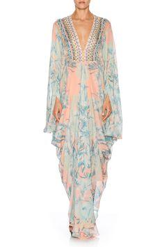 CAMILLA - GARDEN OF DREAMS PLEAT FRONT TSHAPE LONG KAFTAN - Dresses - Shop