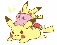and Pikachu! (Kirby with the PIKACHU copy from Super Smash brothers) Super Smash Bros, Kirby Character, Game Character, Cute Pokemon, Pokemon Fan, Kirby Pokemon, Kirby Memes, Yoshi, Nintendo Characters