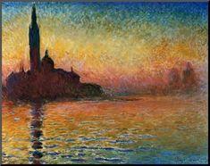Solnedgang over Venedig Monteret tryk