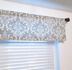 Storm Grey Damask  Window Valance Rod Pocket Curtain by OldStation, $24.50