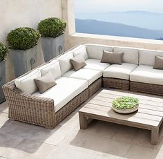 Provence Classic Customizable Sectional/We can choose size, fabric and wicker color.