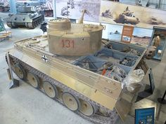A Tiger 131 display model at Bovington Tank Museum with it's rear deck opened to show the engine area and other details.