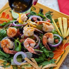 Make the Cozumel Salad your perfect summer dish! This fresh, healthy and colorful salad has grilled shrimp layered over a mix of romaine lettuce and spinach, with tomatoes, cucumbers, onions, black beans and corn. Garnished with avocado, mango and crisp tortilla strips, and dressed with a perfect mango citrus vinaigrette. Visit us at El Mariachi today and try it!