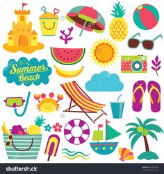e006bc5a27d36 summer day elements clip art set. Free Vector ...