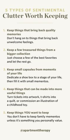 5 Rules to Declutter Sentimental Items - September Sweep 2019 Household Cleaning Tips, House Cleaning Tips, Cleaning Hacks, Spring Cleaning, Declutter Home, Declutter Your Life, Apartment Therapy, Affirmations, Thing 1