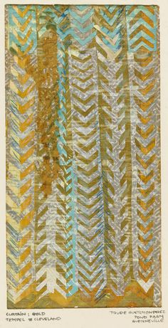 "Drawing, ""Design for a Curtain,  Park Synagogue, Cleveland Heights, Ohio"", ca. 1960 -- cut paper, brush and gouache on gold-patterned Chinese paper. designed by Trude Guermonprez"