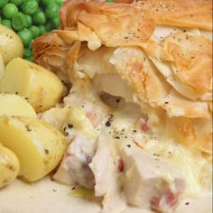 A Tasty recipe for chicken and bacon filo pastry topped pie, Delicious served with baby potatoes and vegetables.