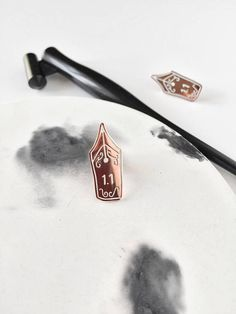 Calligraphy Nib Enamel Pin - Lapel Pin - Copper and White