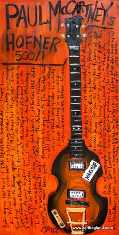 Paul McCartney Hofner bass guitar art print by KarlHaglundArt, $20.00