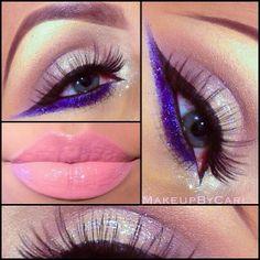 Eye shadow blue / eyelashes / lipstick pink / make up / beauty