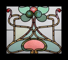 Enchanting Art Nouveau Beauty with Painted Fruit Stained Glass Window