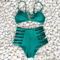 Come See Me Strappy High-waisted Swimsuit Set #highwaistedbikinis